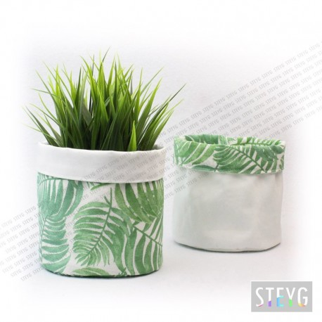 Panier en tissu / pot de fleur BOTANICAL