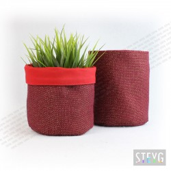 Fabric basket / flower pot Red Jute