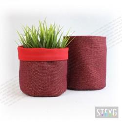 Panier en tissu / pot de fleur Toile de Jute Rouge