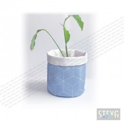 Fabric basket / flower pot GEOMETRIC blue