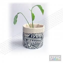 Fabric basket / flower pot BLACK & WHITE